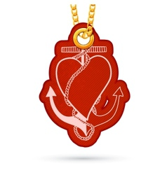 Heart with anchor label tag hanging on golden vector