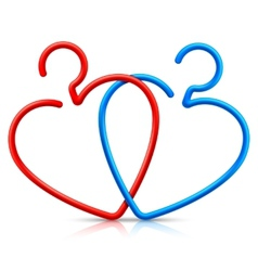 Heart shaped hangers vector