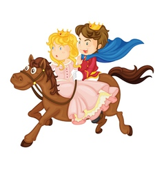 King and queen riding on a horse vector