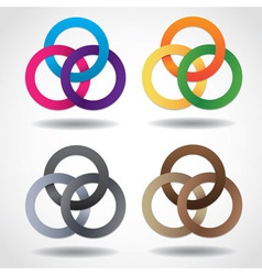 3d multicolored embracing metal ring shapes vector