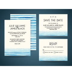 Set of wedding invitation card with watercolor vector