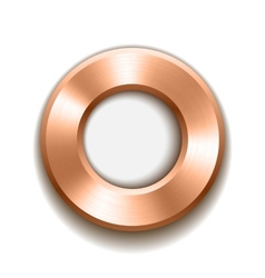 Bronze donut button template with metal texture vector