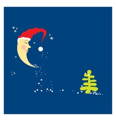 Crescent moon in a christmas hat vector
