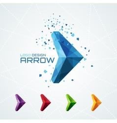 Abstract triangular arrow logo vector