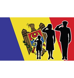 Moldova soldier family salute vector
