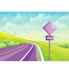 Summer road among fields and sign at vector