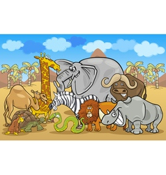 African safari wild animals cartoon vector