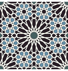 Arabesque seamless pattern in blue and black vector