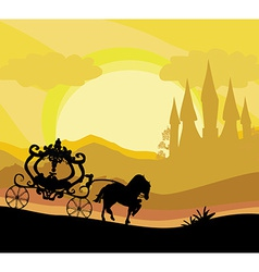 Horse carriage and a medieval castle vector
