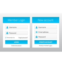 Member login and new account website forms vector
