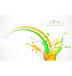 Colorful splash of india tricolor vector