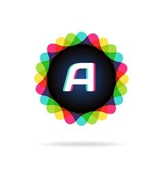 Retro bright colors logotype letter a vector