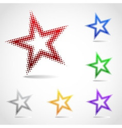 A rotated star icon made of halftone dots vector