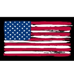 American flag in painting brush style vector