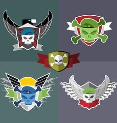 Set military emblem label on the form vector