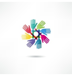 Hands connecting icon vector