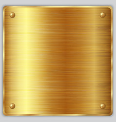 Square gold metallic plate with screws vector