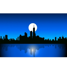 Chicago at night vector