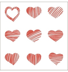 Set of nine hand drawn hearts vector