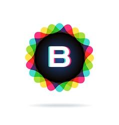 Retro bright colors logotype letter b vector