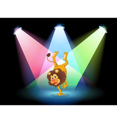 A lion performing in the middle of the stage vector