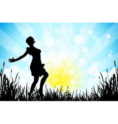 Nature background with girl silhouette vector