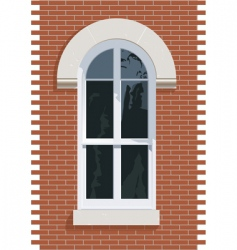 Brick wall window vector