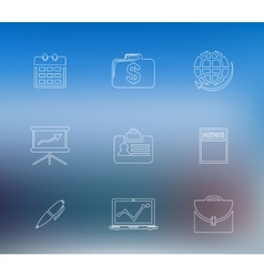 Set of business line icons vector