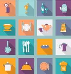 Kitchen ware flat icons food icons vector