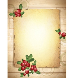 Burnt paper with cranberries vector