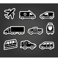 Set of stickers transport icons vector