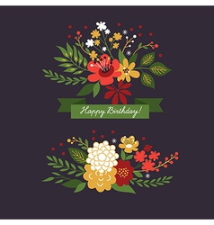 Floral design elements on the dark background vector