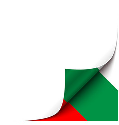 Curled up paper corner on bulgarian flag vector