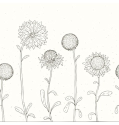Hand drawn sunflower floral background vector