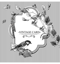 Vintage card with birch twigs and bird tit vector