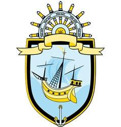 Marine emblem ship steering wheel vector