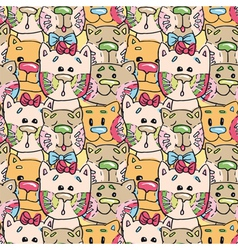Seamless pattern kittens vector