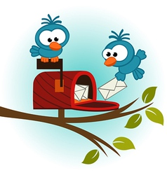 Birds and mailbox with mail vector