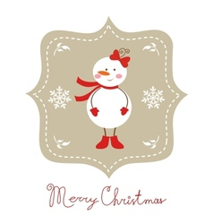 Cute snow girl christmas card vector