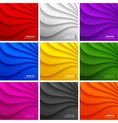 Set of 9 colorful wavy backgrounds vector