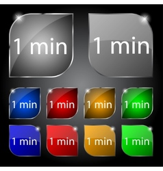 One minutes sign icon set of colored buttons vector