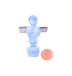 Foosball player and ball watercolor object on the vector
