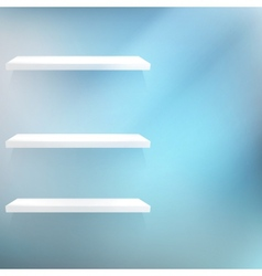 Three white empty shelves vector