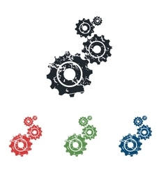 Gears grunge icon set vector