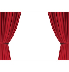 Red curtain opened on white vector