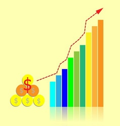 Investment bar graph with growth trend line vector