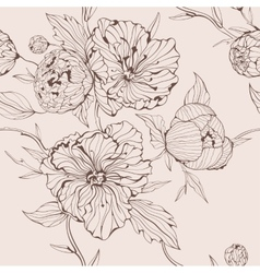 Sepia seamless background with peony vector