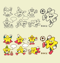 Superstar cartoon icons vector