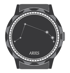 The watch dial with the zodiac sign aries vector