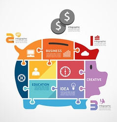 Infographic template with piggy bank jigsaw banner vector